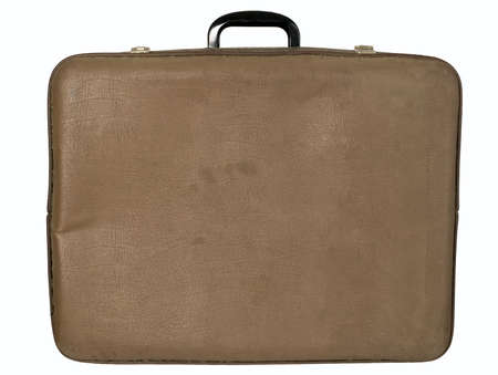 Antique brown trunk on white background, travel concept photo