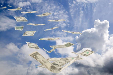 There are blue sky with clouds and euro money Stock Photo