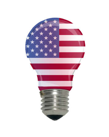 There is a flag of USA in light bulb, idea concept photo