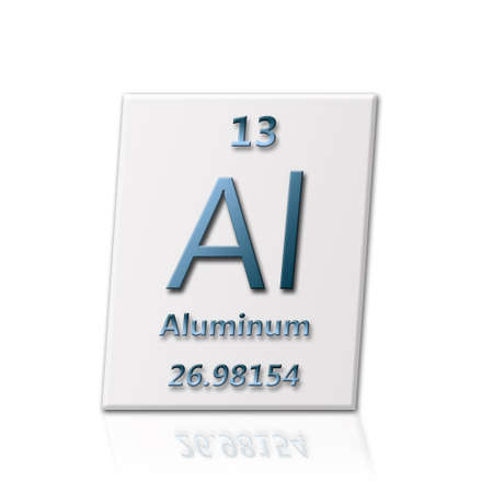 atomic symbol: There is a chemical element Aluminum with all information about it Stock Photo