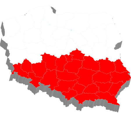 There is a 3d map of Poland with flag on photo
