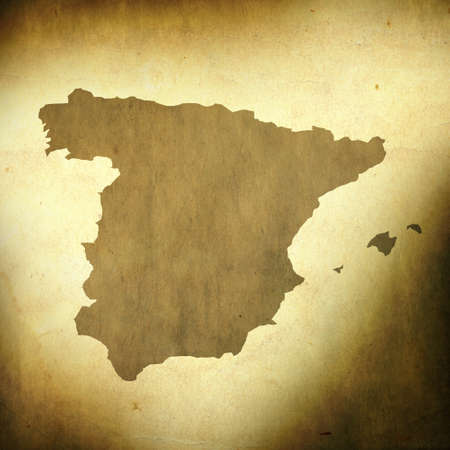 spain map: There is a map of Spain on grunge paper background