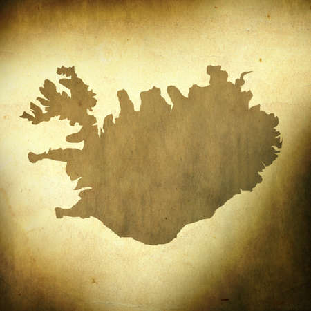 There is a map of Iceland on grunge paper background photo