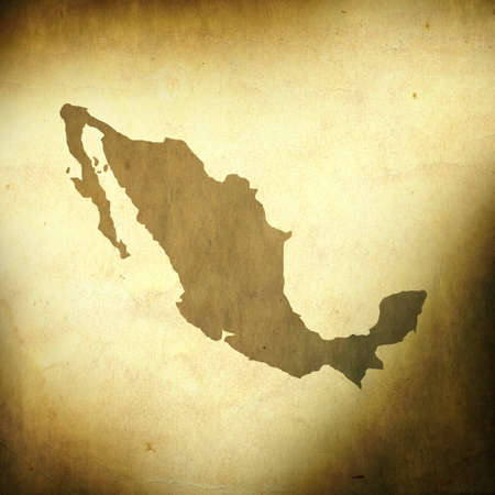 old world map: There is a map of Mexico on grunge paper background
