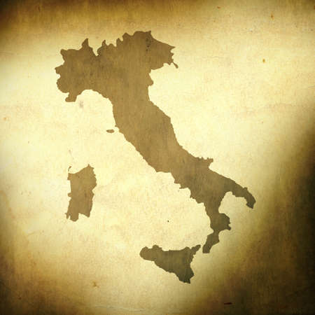 antique map: There is a map of Italy on grunge paper background