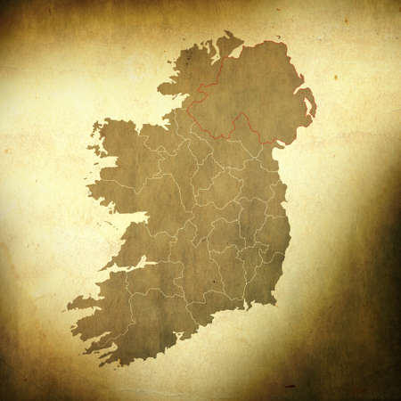 There is a map of Ireland on grunge paper background photo