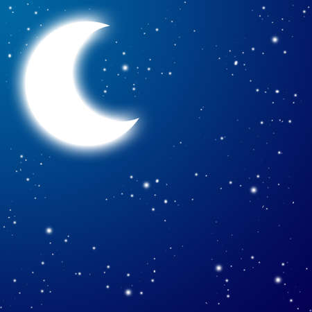 There is a moon with stars at the night photo