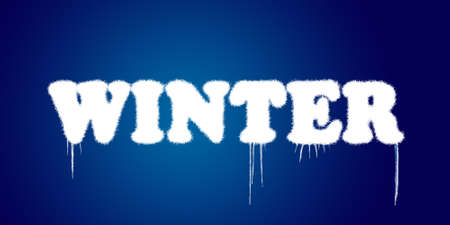 icicles: Word winter covered with snow on blue background