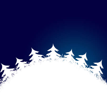 There is a blue frame made from white christmas trees around Stock Photo