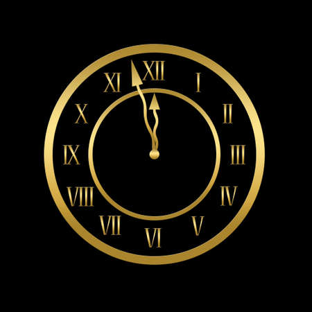 Clock is showing almost twelve, midnight or new year concept photo