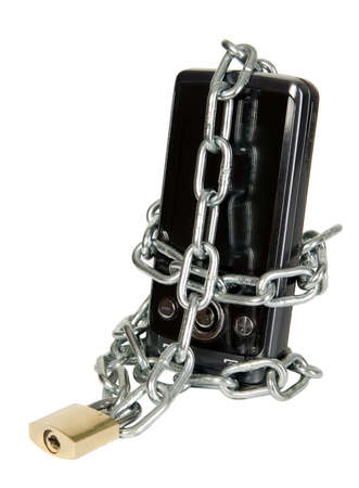 Mobile phone is secured with metal chain and lock photo