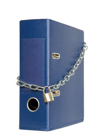 Catalogs of documents are locked with chain Stock Photo - 8595588