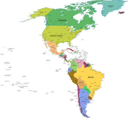 Kaart van Zuid- en Noord-Amerika met landen, hoofdsteden en grote steden