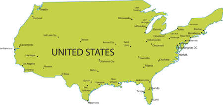 Map Of United States Of America With Major Cities Royalty Free ...