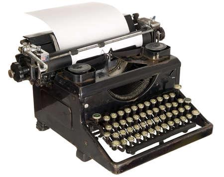 typewriter key: Old antique white typewriter with black keys Stock Photo