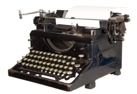 maquina de escribir: Antigua m�quina blanca antiguo con claves negras