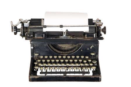typewriter: Antigua m�quina blanca antiguo con claves negras