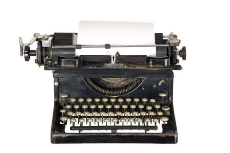 Old antique white typewriter with black keys Stock Photo