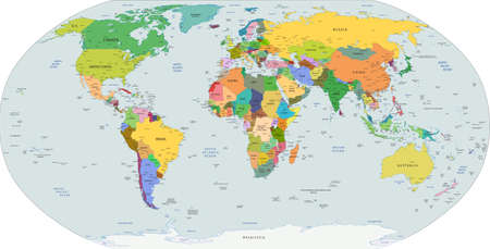 Global political map of the world, capitals and major city included Vector