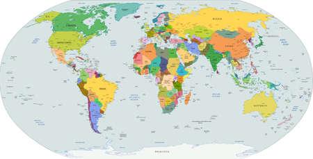 Atlas: Globale politische Karte der Welt, Hauptst�dte und gr��eren Stadt enthalten Illustration