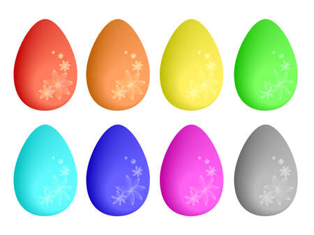 Many colorful eggs with flower ornaments, easter concept, vector Vector