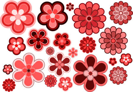 pink flowers: Many various size and shapes flowers, vector icon set