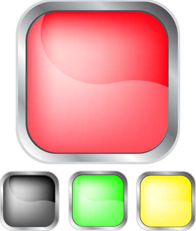 Square colorful button with round corners Stock Vector - 9155823