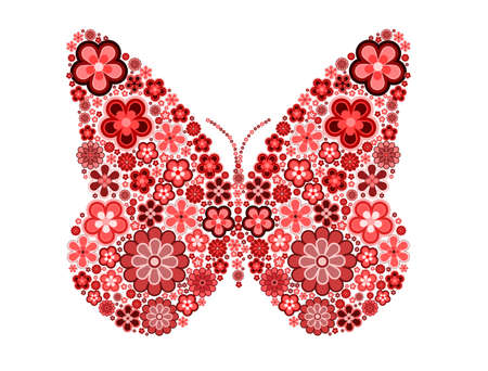pink flower: Butterfly made from many various flowers, vector illustration