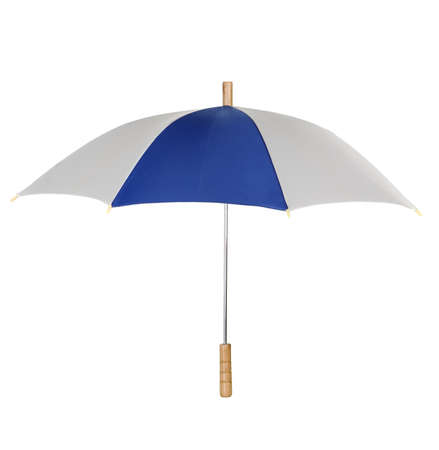 Blue, white umbrella with metal shank and wooden handle Stock Photo - 10144194