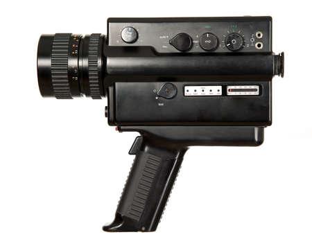 Starý starožitný videokamera na bílém pozadí