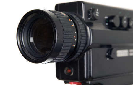 Old antique video camera on white background photo