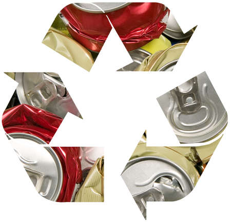 crushed aluminum cans: Recycle symbol from smashed can, pollution and recycling concept