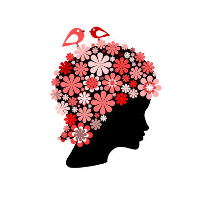 hair ornament: Shape of woman head covered with red flowers and birds