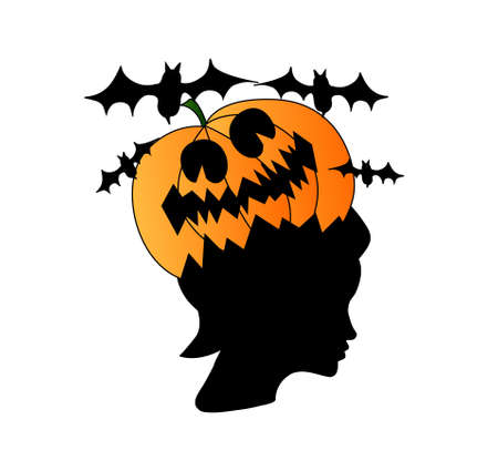 daunting: Woman head shape with creepy pumpkin on it and black bats Illustration