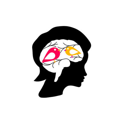 Inside a head of woman is nature, birds, leaves and branches Vector