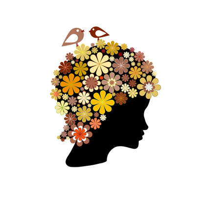 Shape of woman head covered with colorful flowers and birds Vector