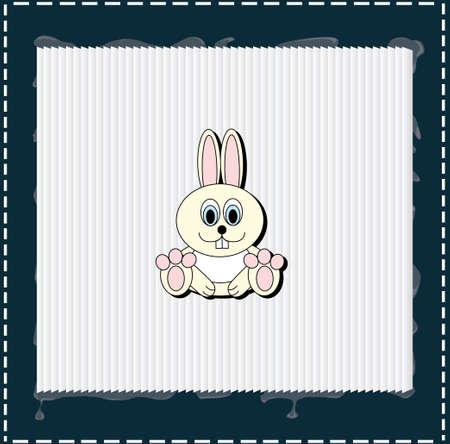 Hay un conejo en el marco blanco con bordes azules de la Navidad o Pascua