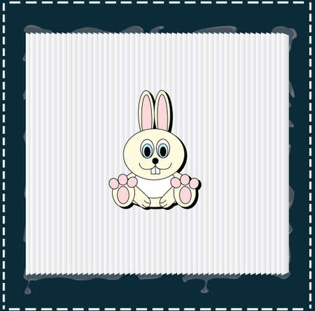 There is a rabbit on white frame with blue edges for christmas or easter Vector