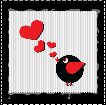Bird is singing and melody is hearts, valentine day concept, love Illustration