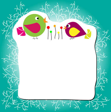 Two birds is standing near flower, frame with branches on edges, vector Vector