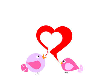 Two colourful birds are singing about love Vector