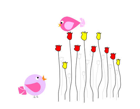 lovebird: Two colorful birds are talking with each other on flowers