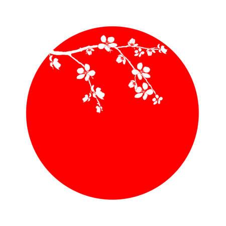fleur cerisier: Direction de la fleur de cerisier dans le cercle rouge
