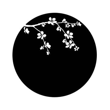Branch of cherry blossom in black circle Vector