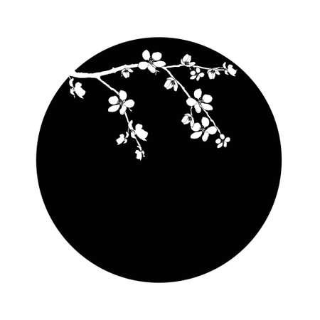 Pobočka třešňového květu v černém kruhu Ilustrace
