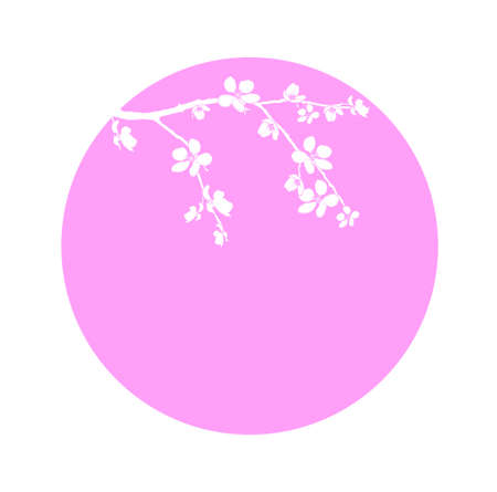 Branch of cherry blossom in pink circle Stock Vector - 13144796