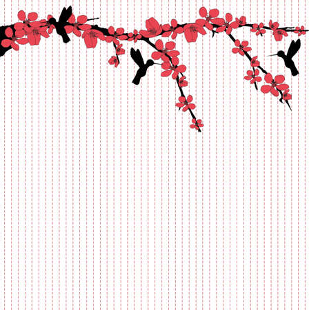 cherry branch: There are hummingbirds flying around cherry blossom
