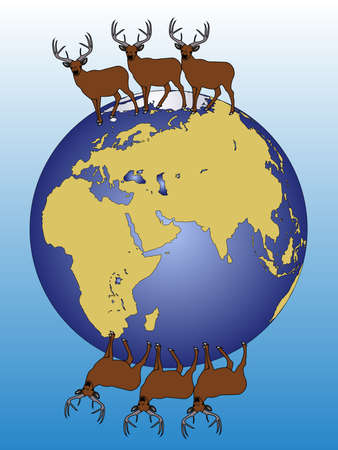 There are elks walking around the wold Stock Vector - 14576128