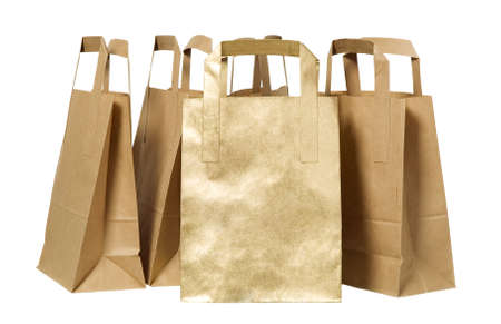 commercial recycling: There are many organic green paper bags Stock Photo