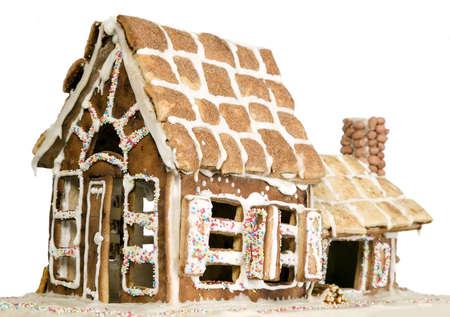 casita de dulces: Casa hecha de harina y azúcar concepto, la panadería o la creatividad Foto de archivo